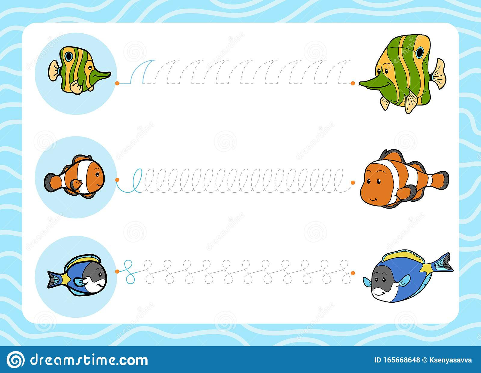 Trace The Dotted Lines From Young Fish To Their Moms