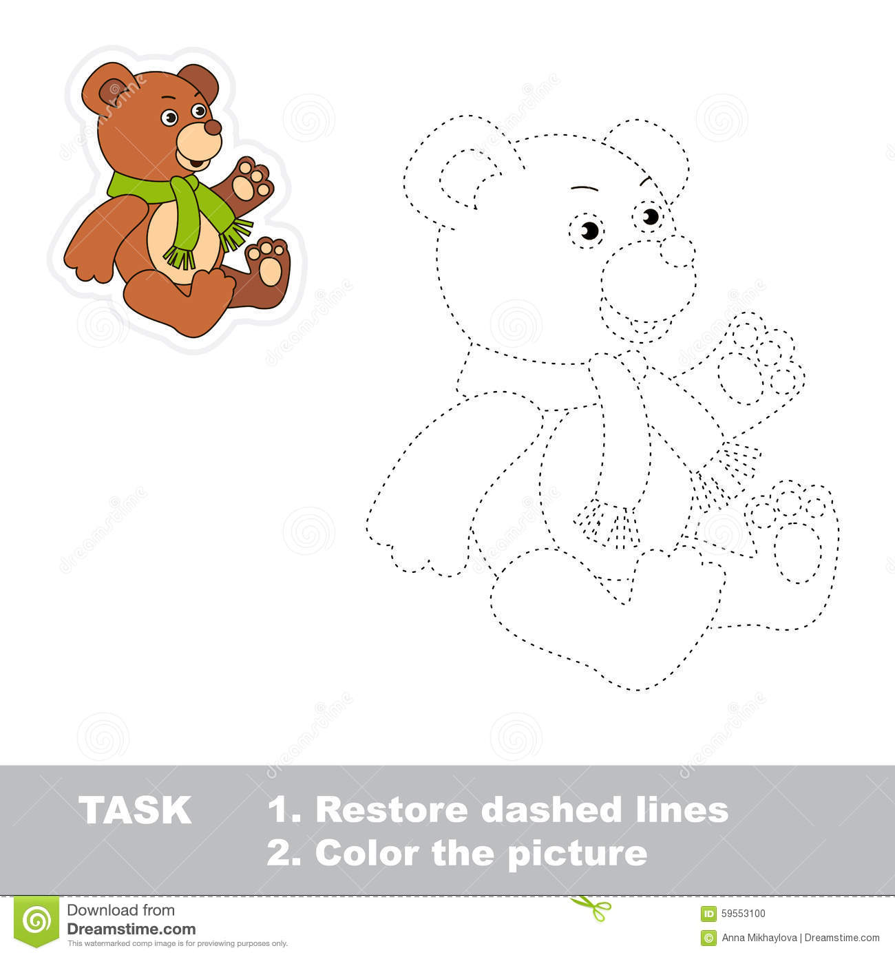 Trace Game For Children One Cartoon Bear Toy To Stock Vector