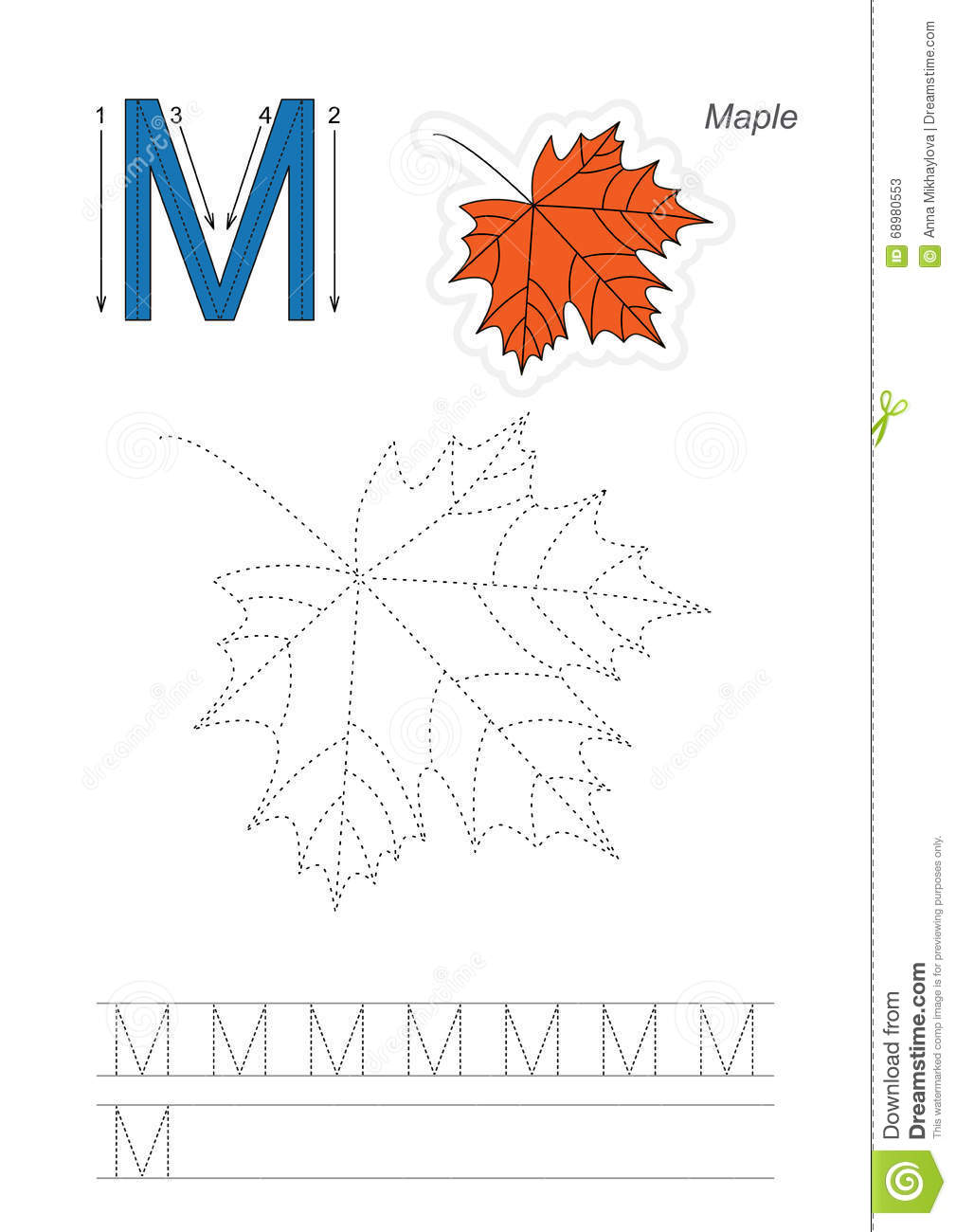 Trace Game For Letter M Stock Vector Image Of Connect
