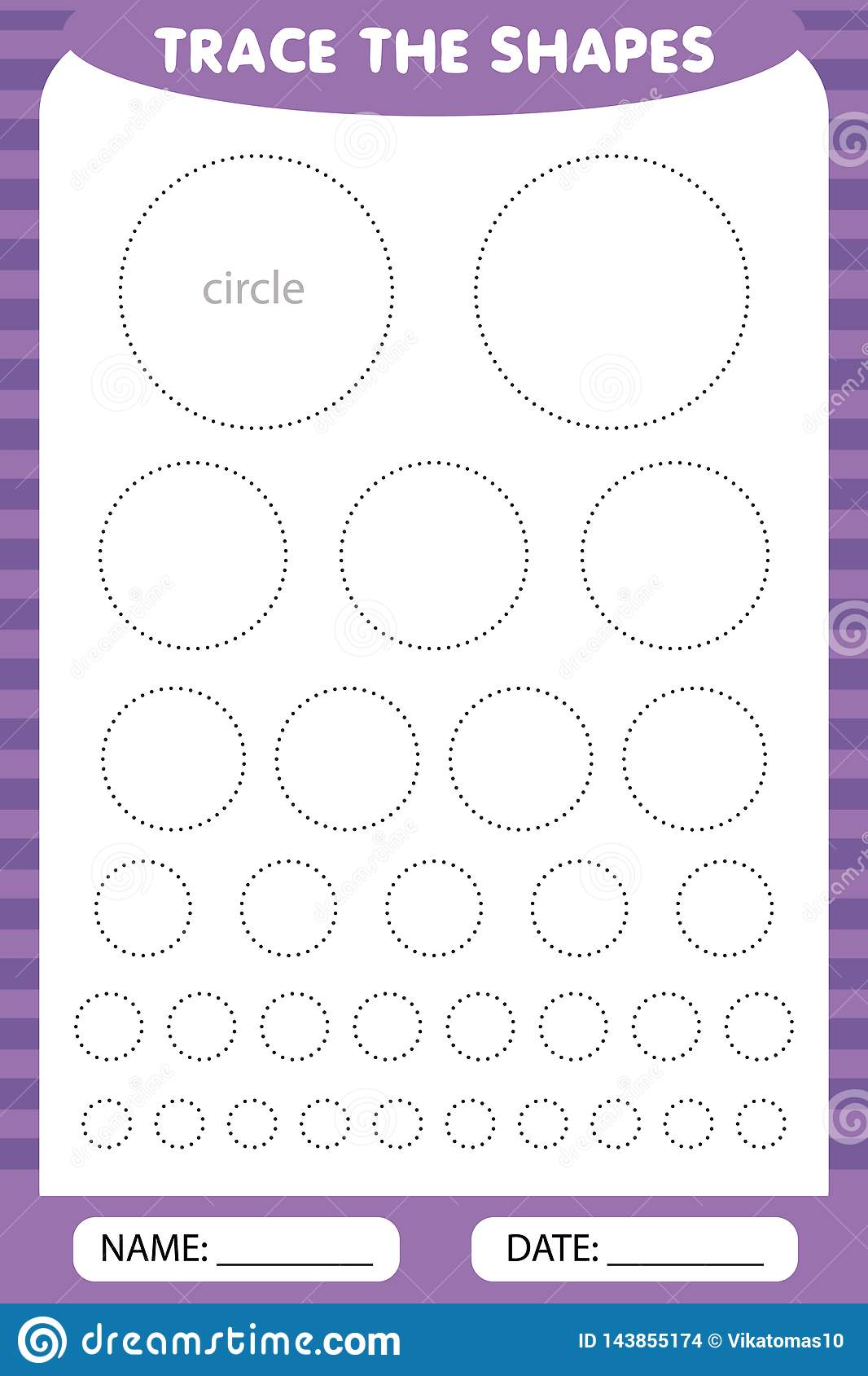Trace The Geometric Circles Shapes Around The Contour