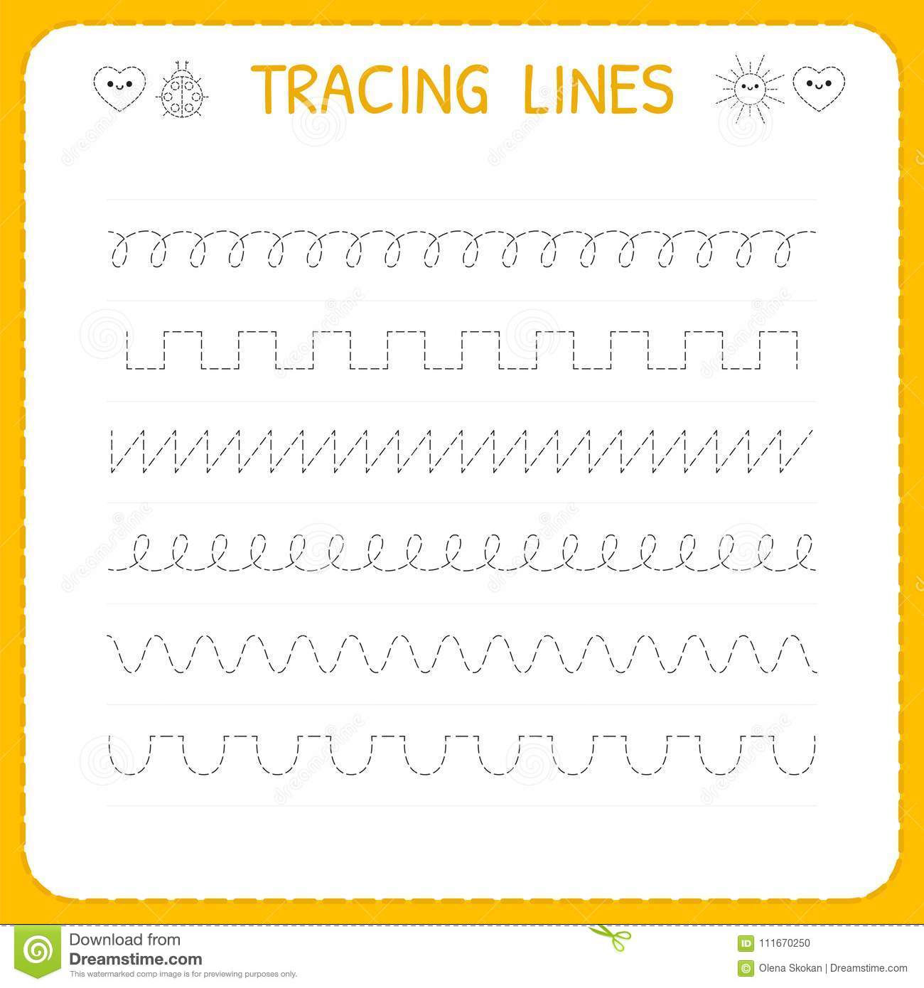 Trace Line Worksheet For Kids Basic Writing Working