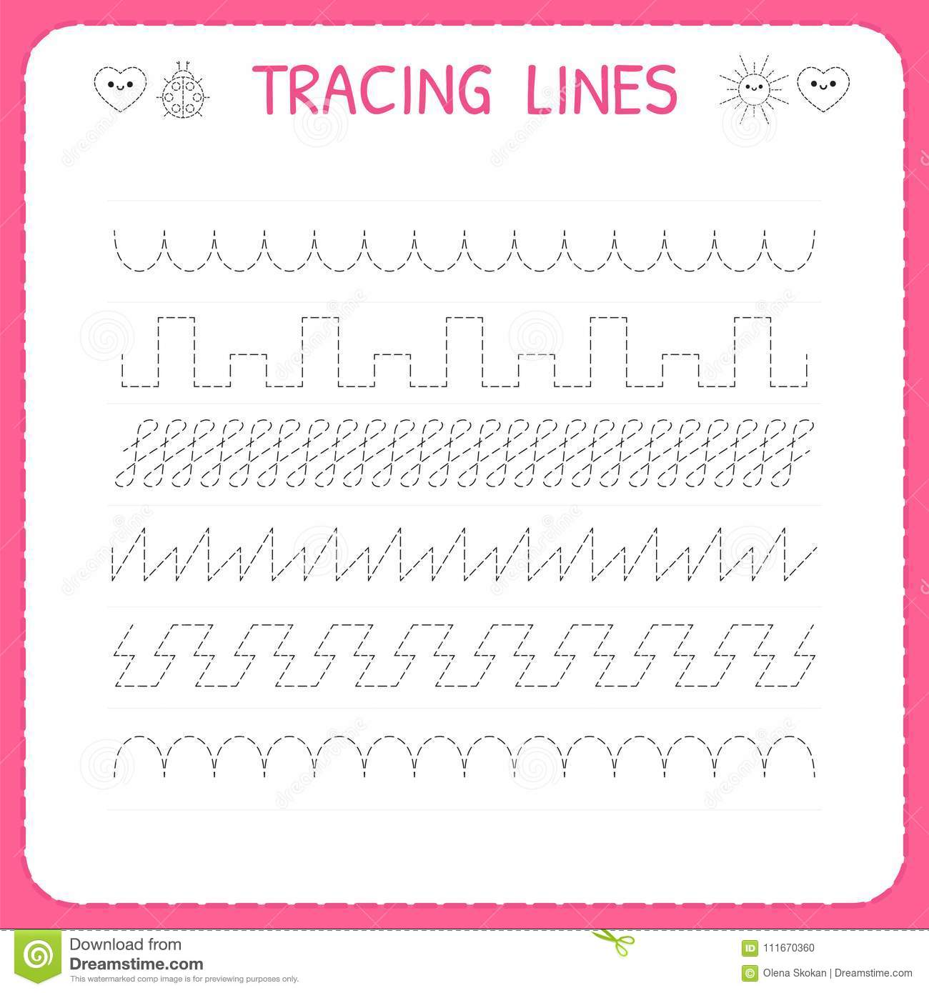 Trace Line Worksheet For Kids Trace The Pattern Working Pages For Children Preschool Or