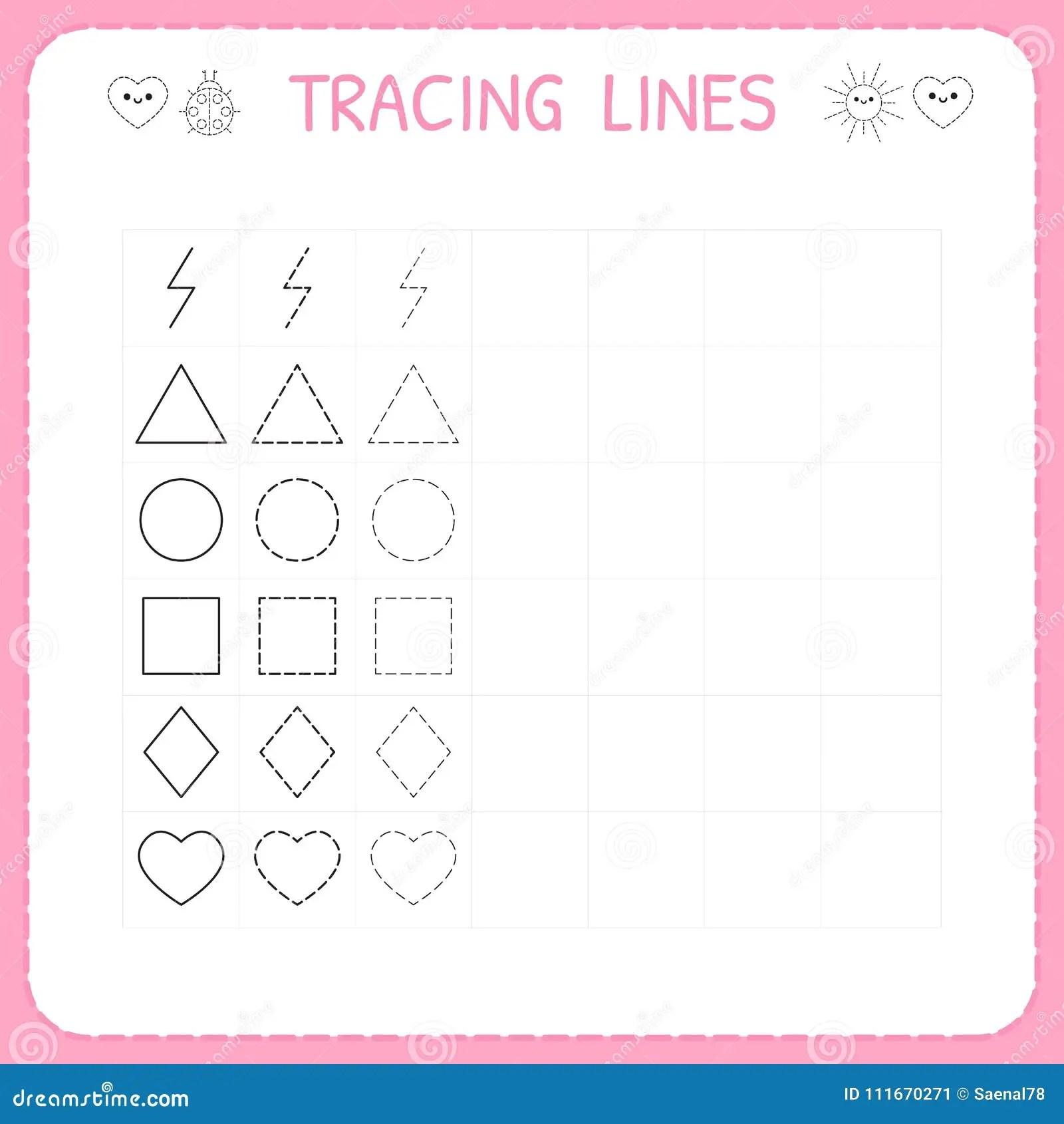 Trace Line Worksheet For Kids Working Pages For Children Preschool Or Kindergarten Worksheet