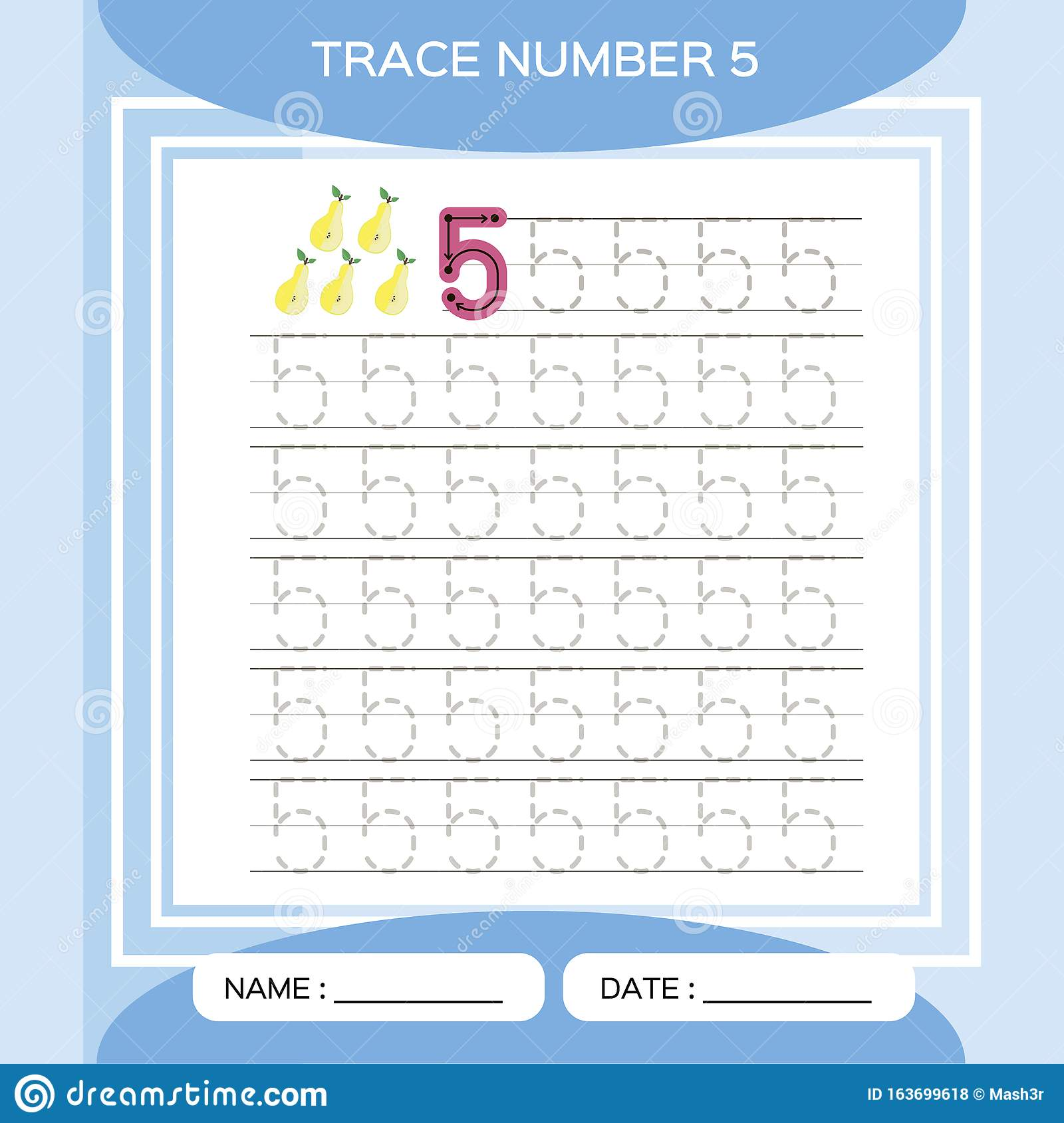 Trace Number 5 Five Children Educational Game Kids