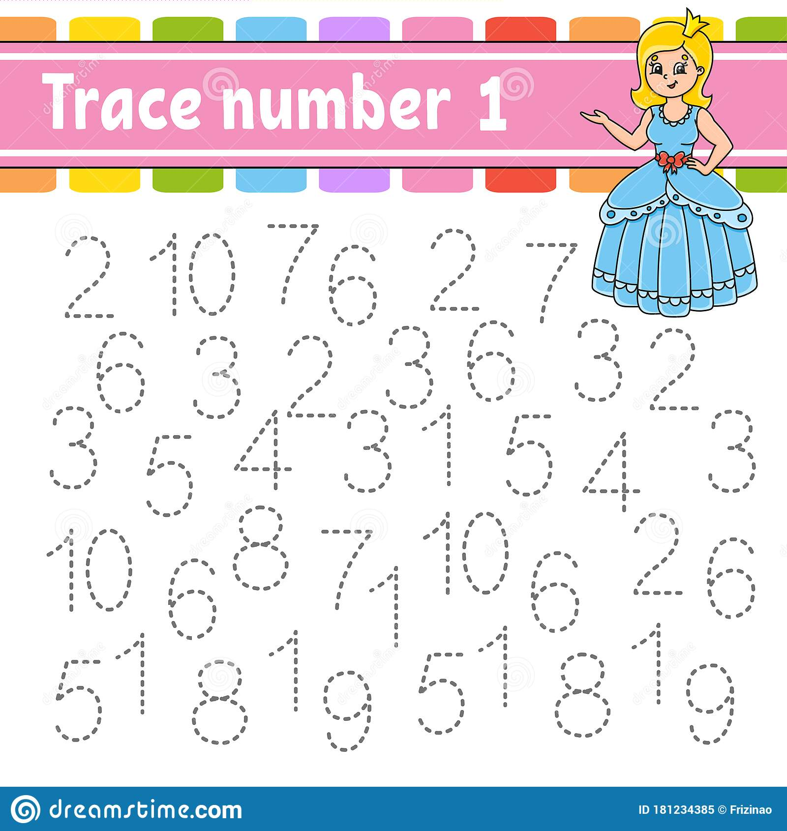 Trace Number 1 Handwriting Practice Learning Numbers For