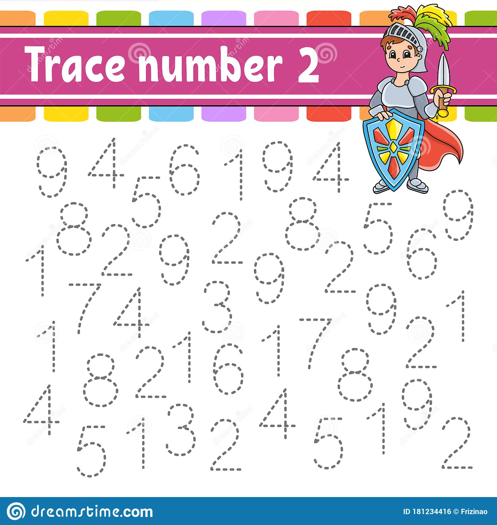 Trace Number 2 Handwriting Practice Learning Numbers For