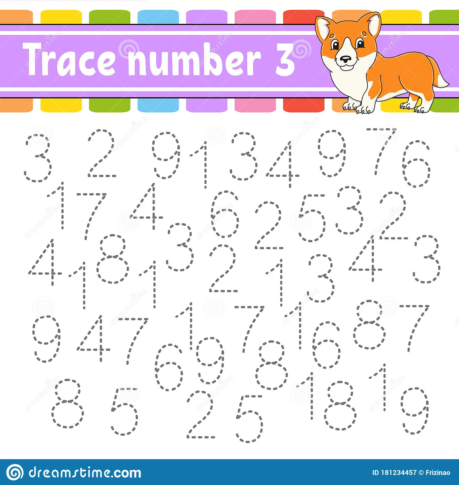 Trace Number 3 Handwriting Practice Learning Numbers For