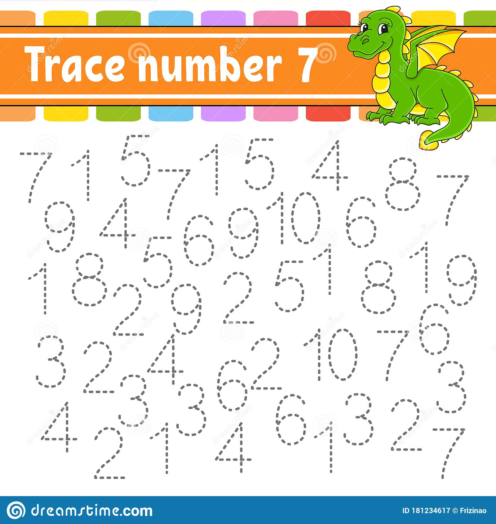 Trace Number 7 Handwriting Practice Learning Numbers For