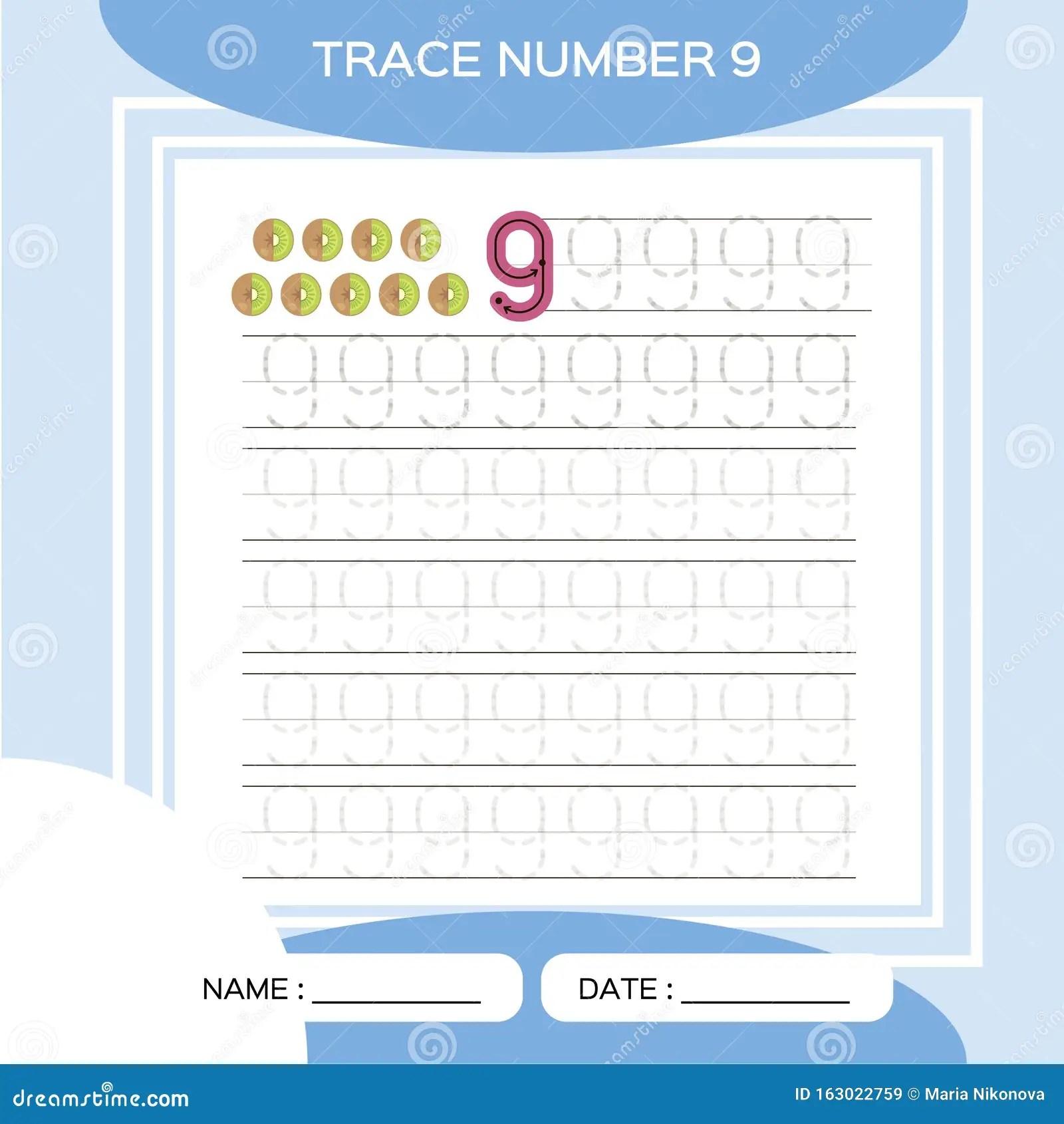 Trace Number 9 Nine Children Educational Game Kids
