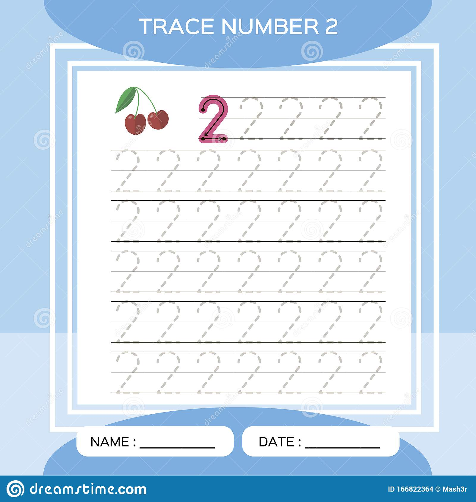Trace Number 2 Two Children Educational Game Kids