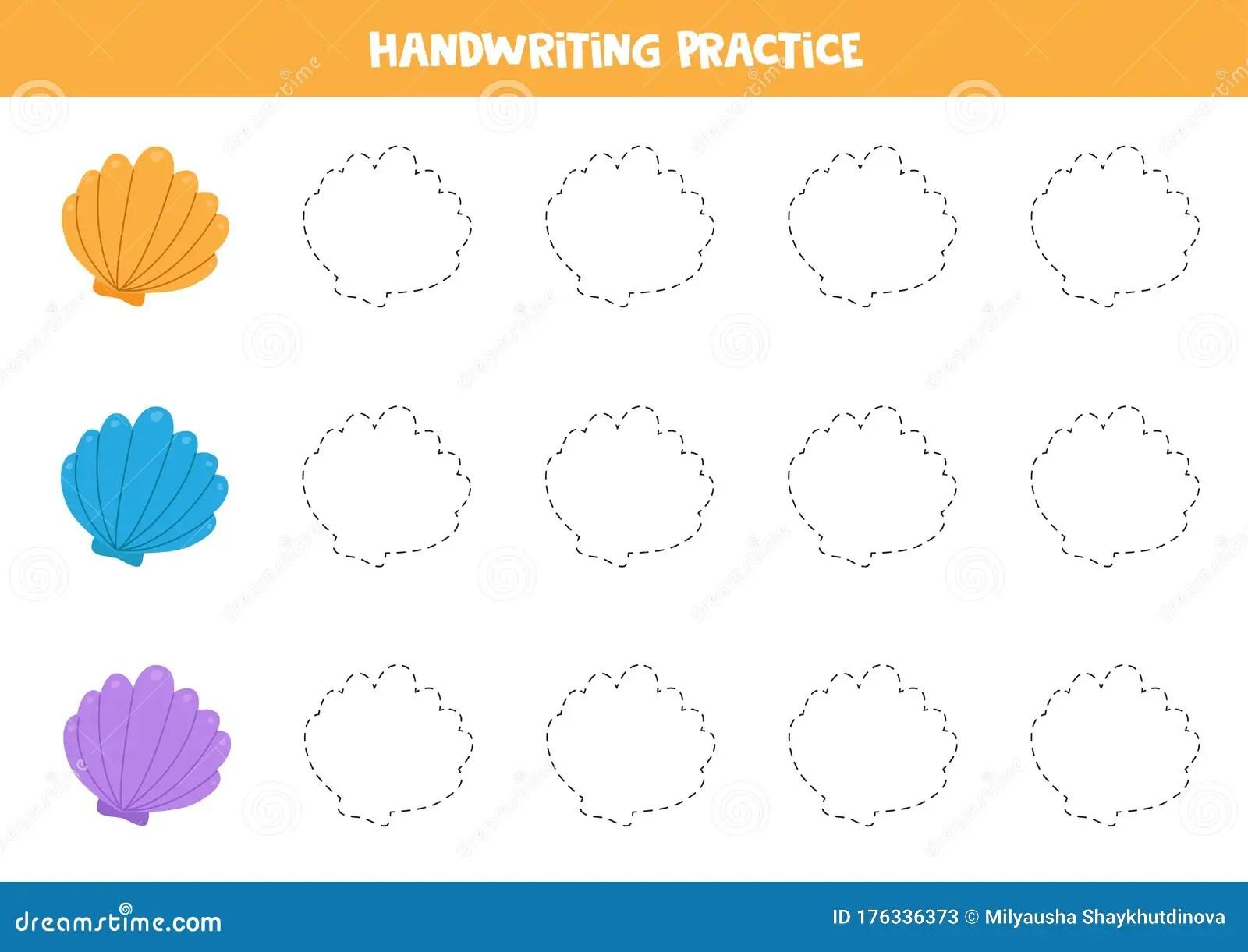 Trace The Outline Of Seashells Educational Worksheet For