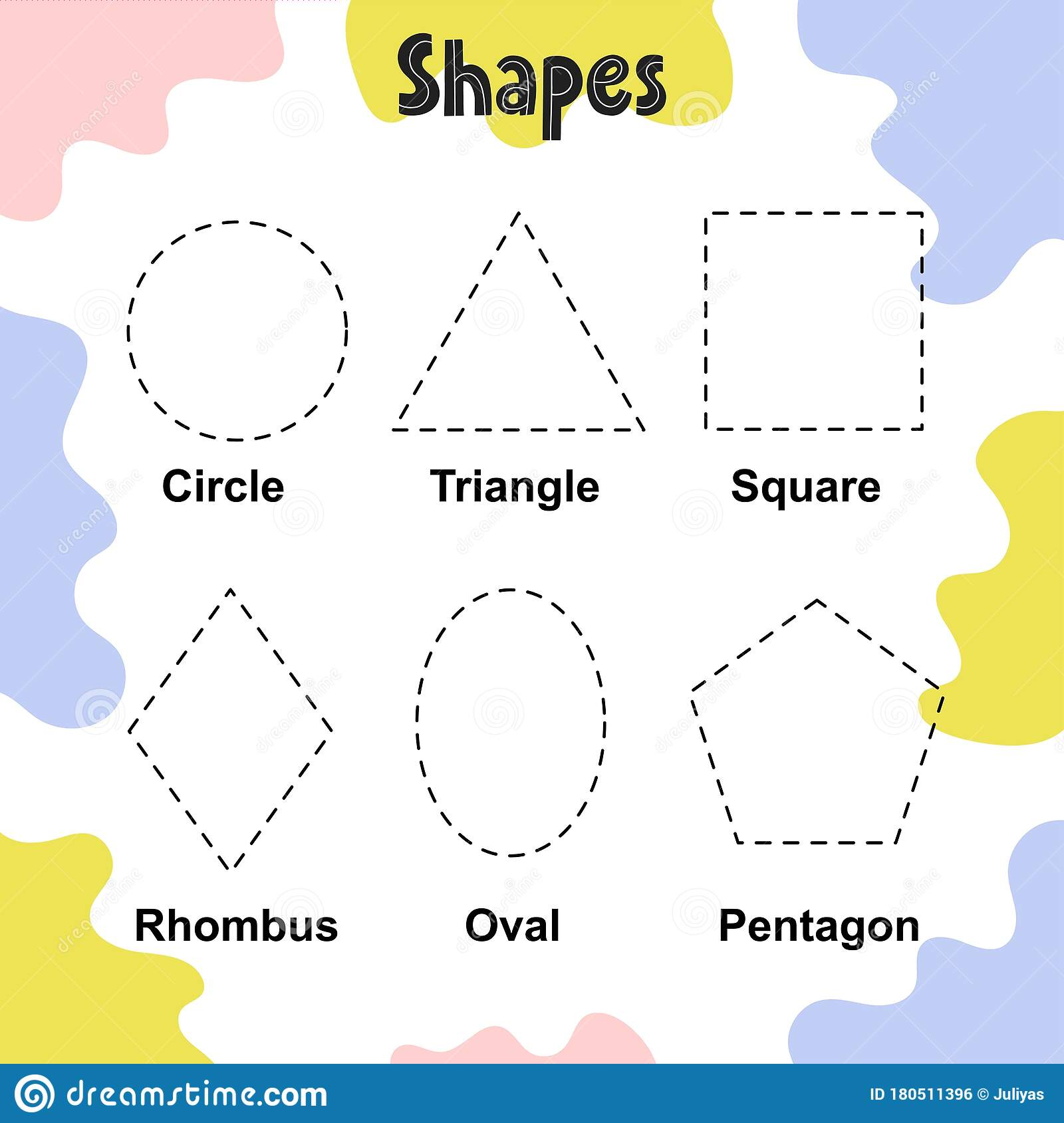 Trace The Shapes Activity Page For Kids Tracing Worksheet