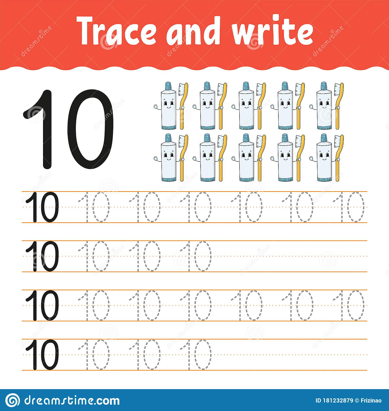 Trace And Write Number 10 Handwriting Practice Learning