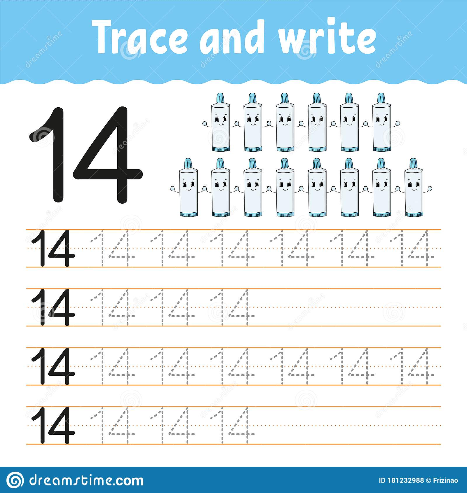 Trace And Write Number 14 Handwriting Practice Learning