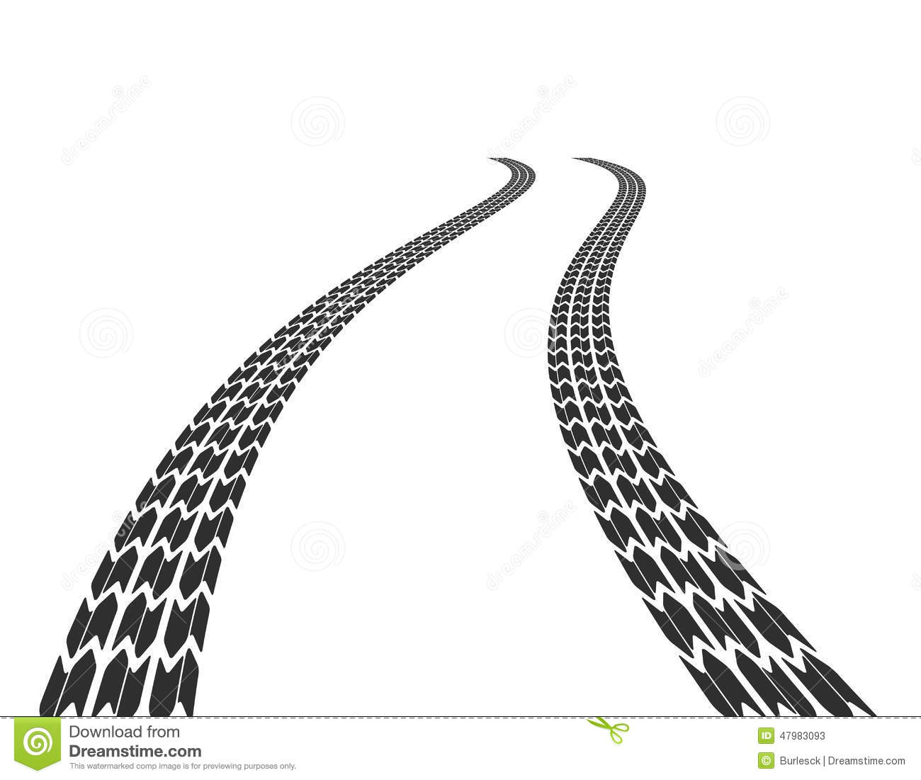 Traces Of Tires On Road Stock Vector Image Of Road Print