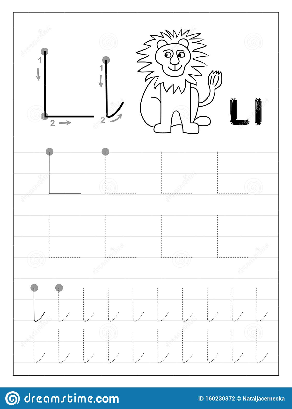 Tracing Alphabet Letter L Black And White Educational