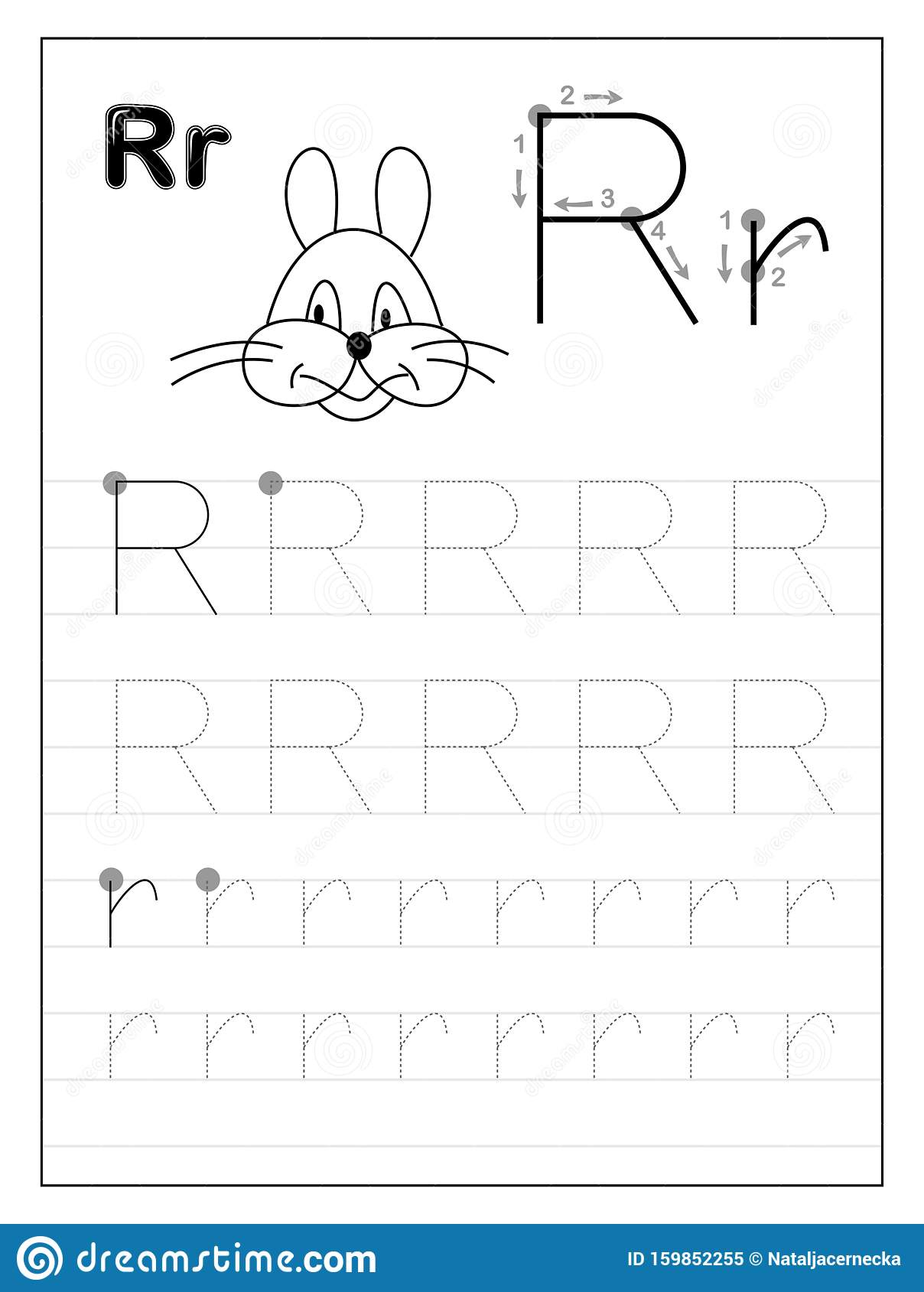 Tracing Alphabet Letter R Black And White Educational