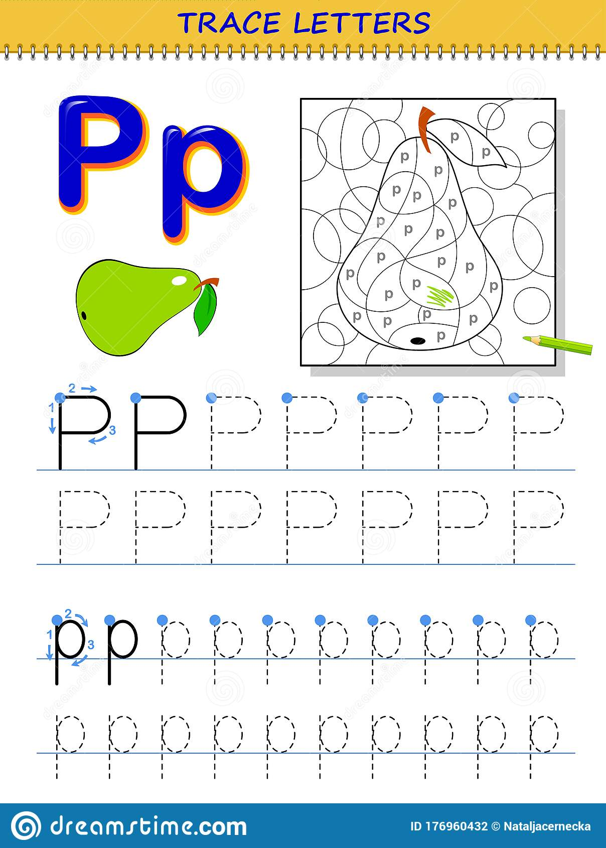 Tracing Letter P For Study Alphabet Printable Worksheet