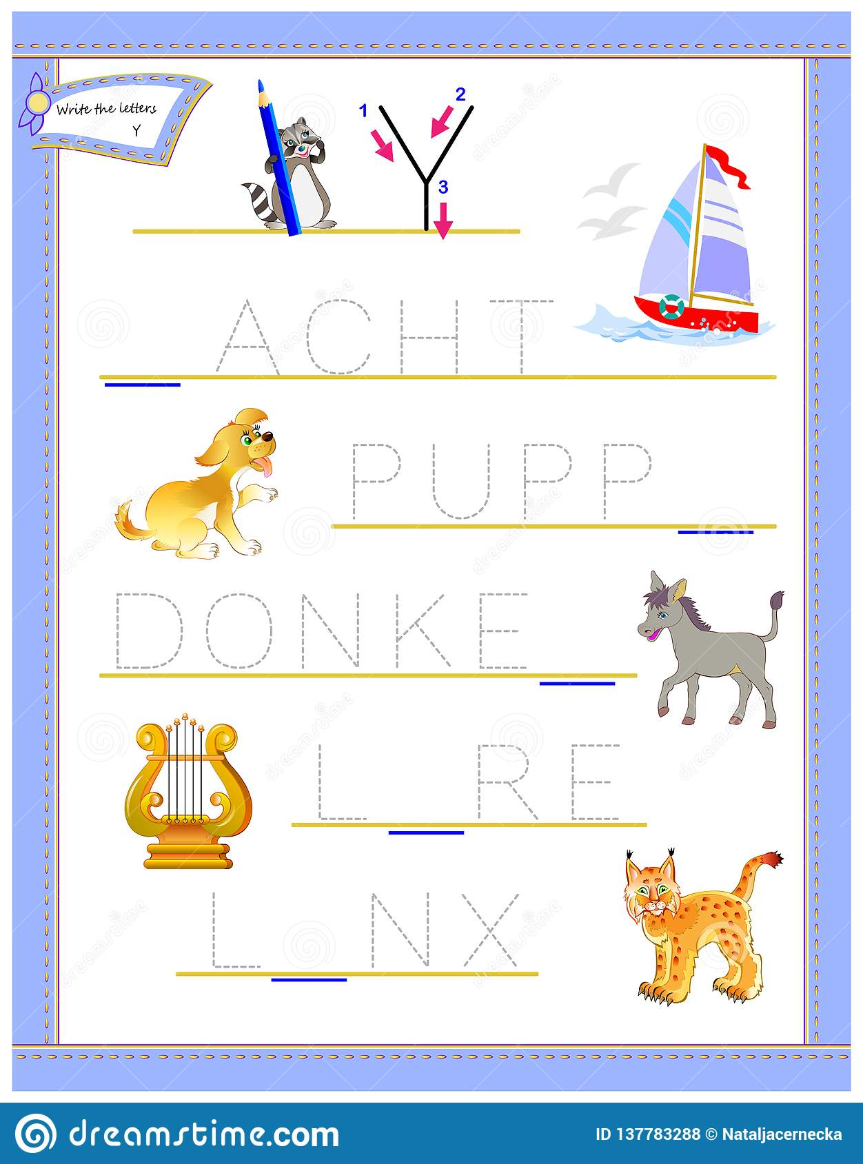 Tracing Letter Y For Study English Alphabet Printable