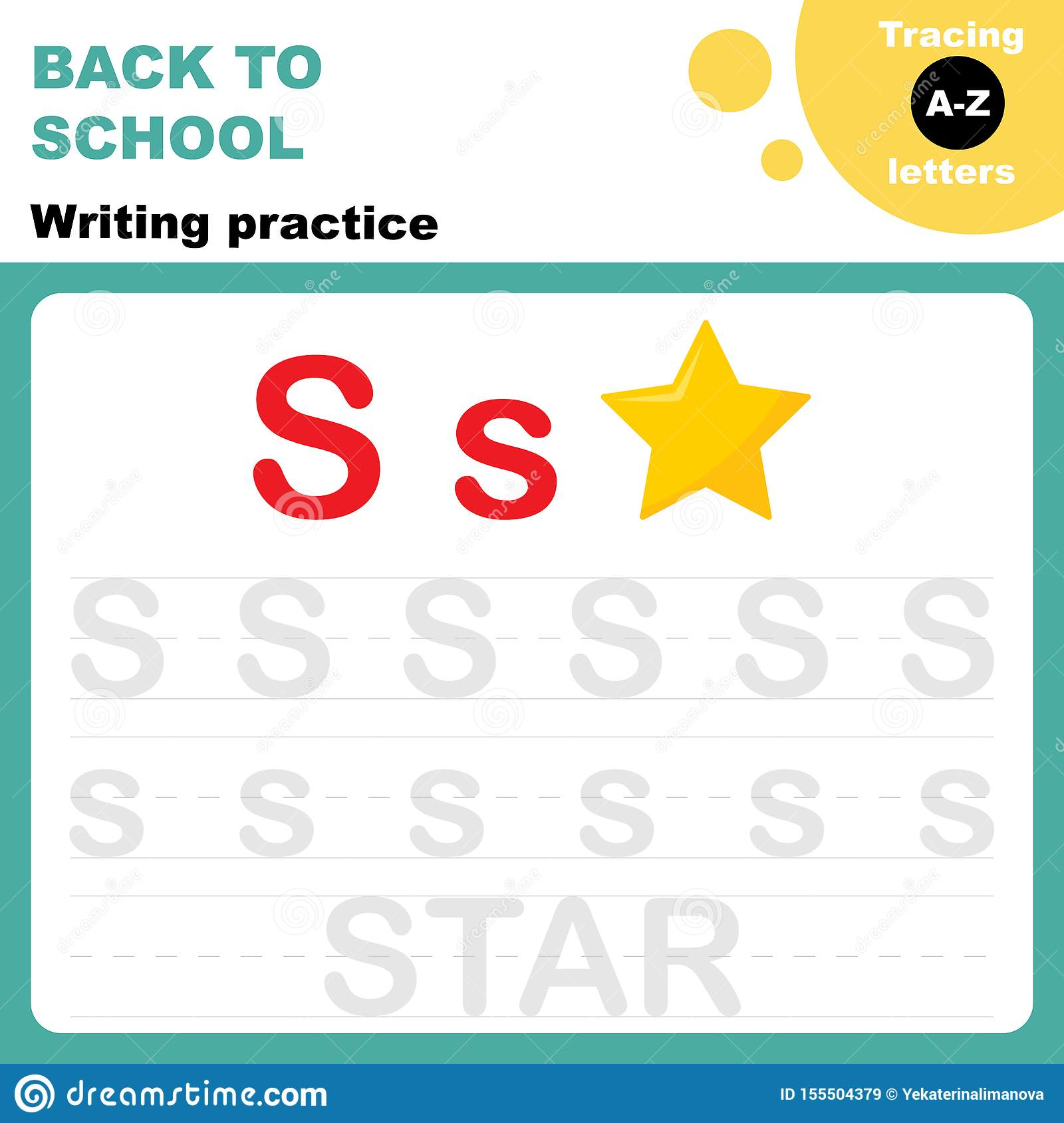 Tracing Letters A Z Worksheet Stock Vector
