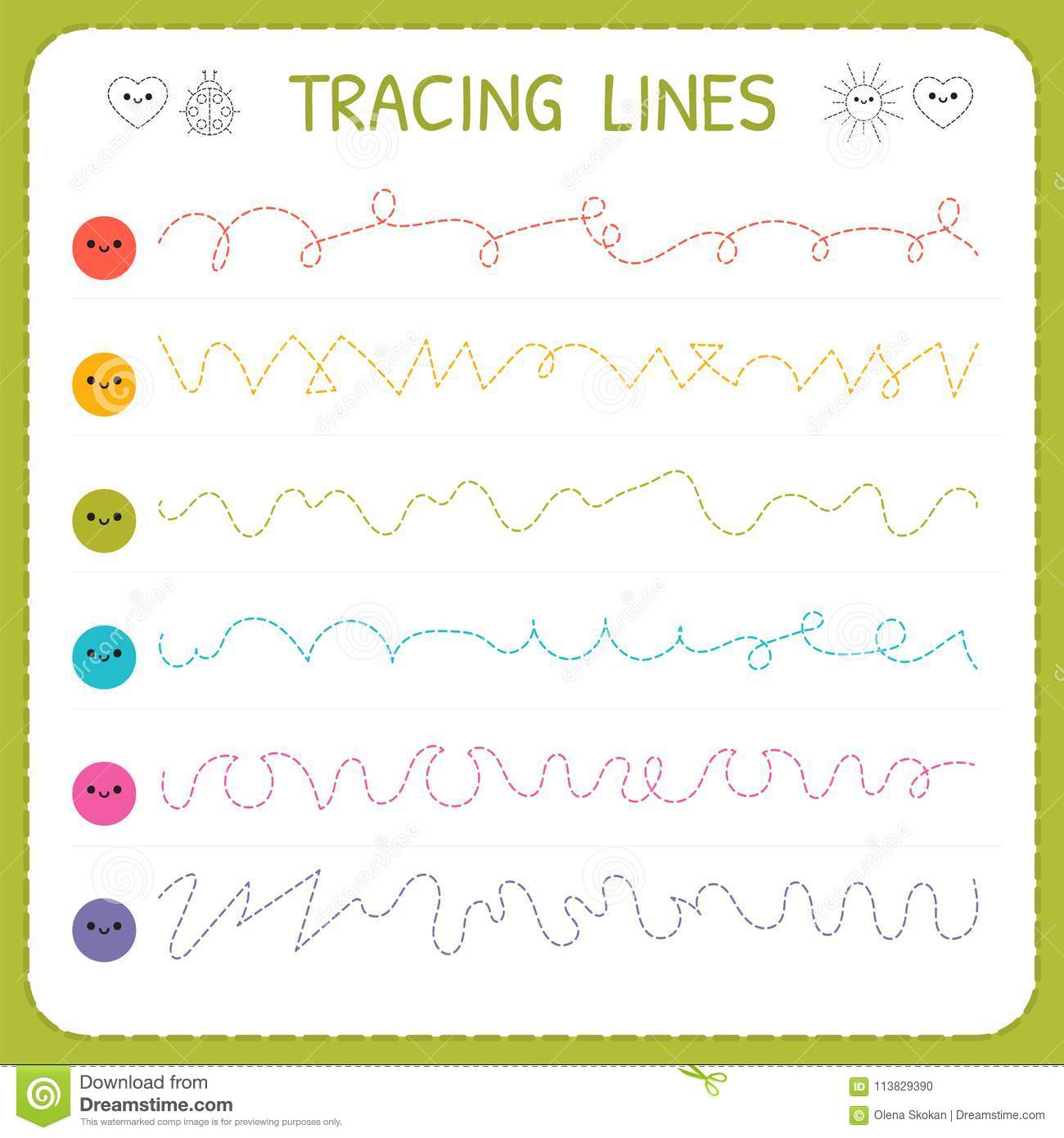 Tracing Lines Basic Writing Worksheet For Kids Working Pages For Children Trace The Pattern