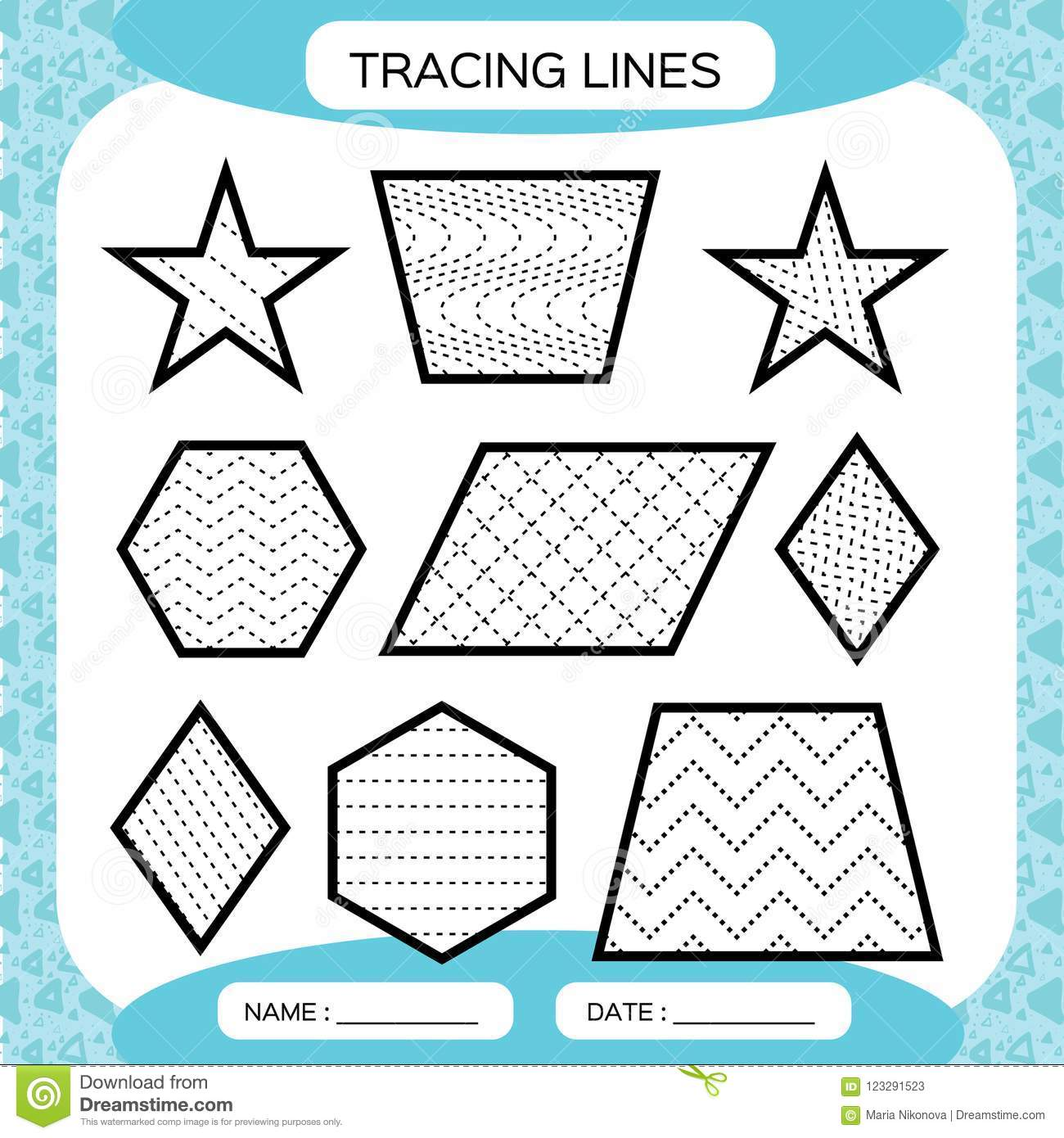 Tracing Lines Kids Education Preschool Worksheet Basic