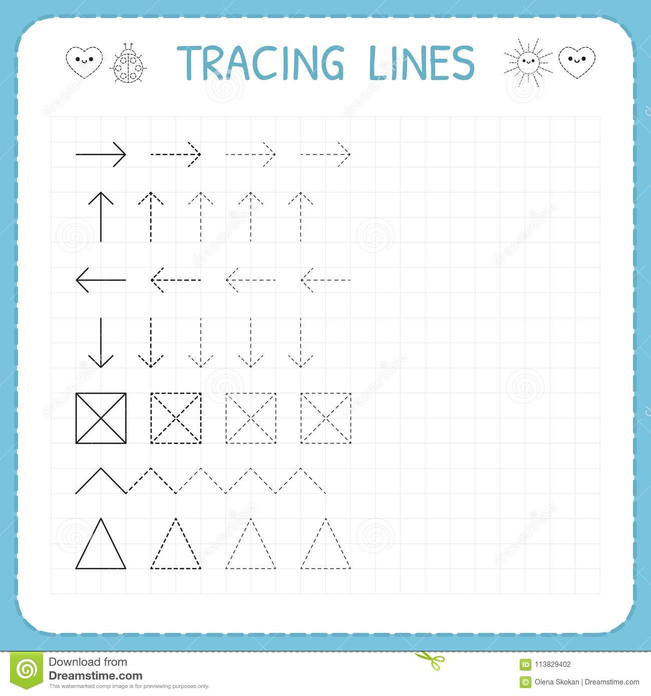 Tracing Lines Working Pages For Children Preschool Or Kindergarten Worksheets Basic Writing