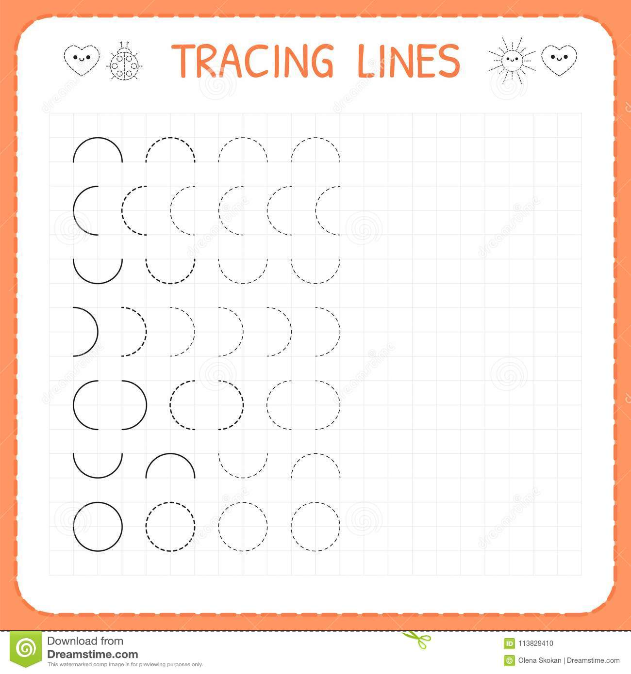 Tracing Lines Worksheet For Kids Basic Writing Working Pages For Children Preschool Or