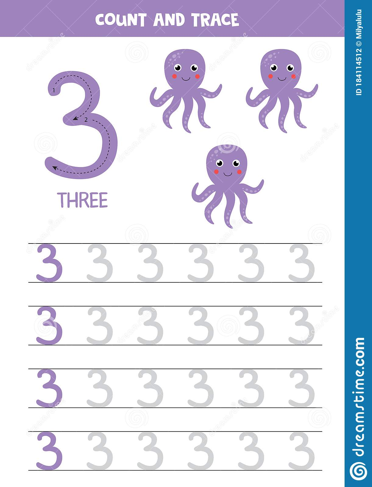 Tracing The Number 3 Cartoon Purple Octopuses