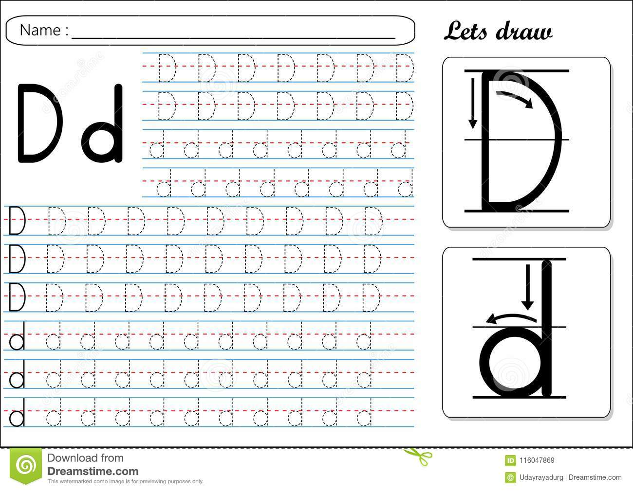 Tracing Worksheet Dd Stock Vector Illustration Of