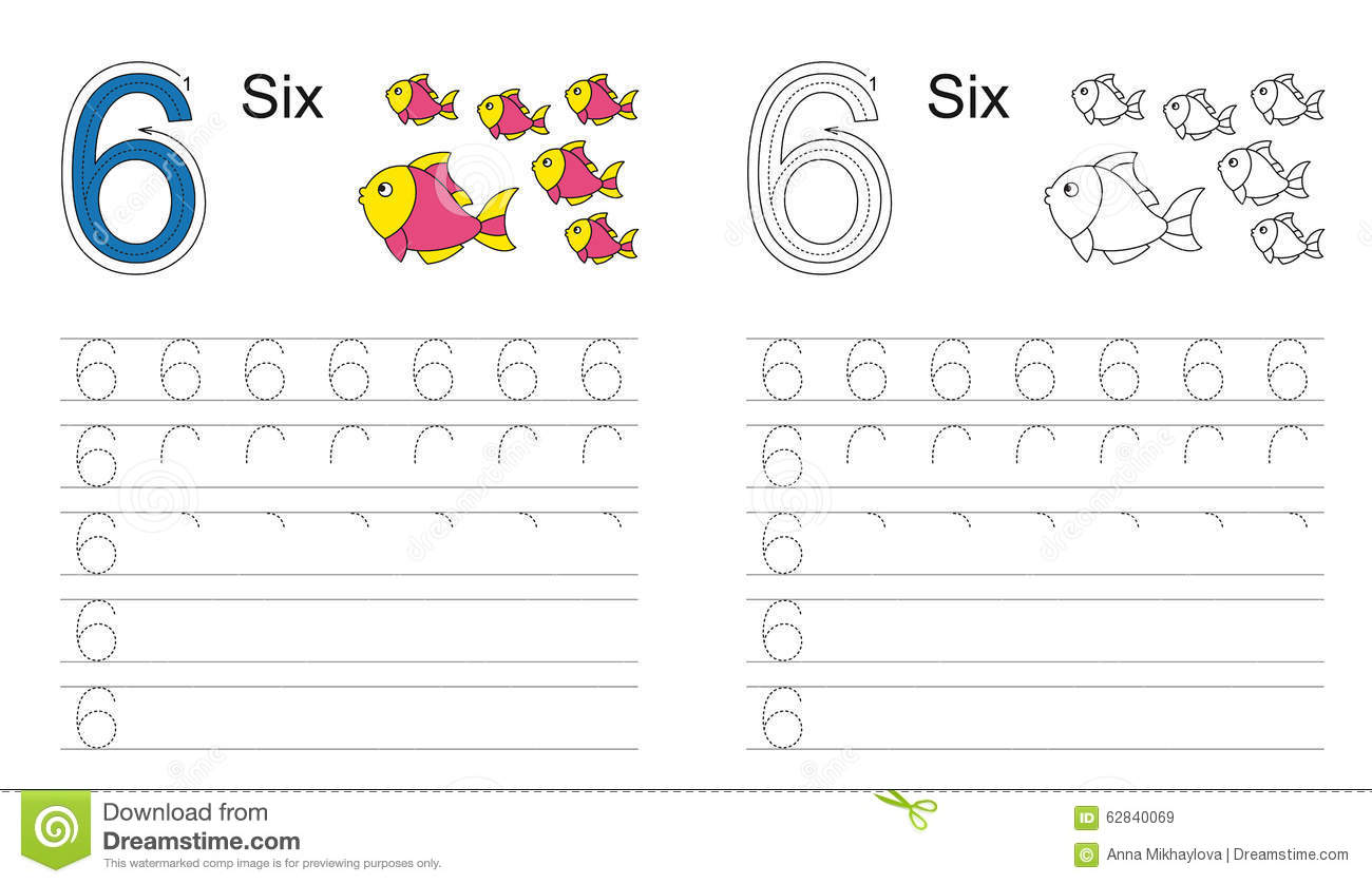 Tracing Worksheet For Figure Six Stock Vector