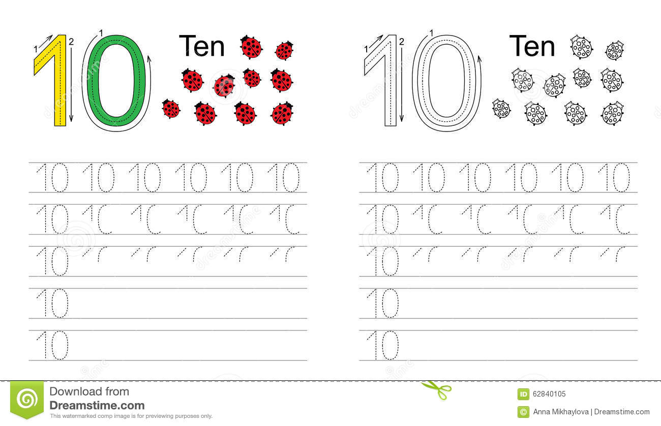Tracing Worksheet For Figure Ten Stock Vector