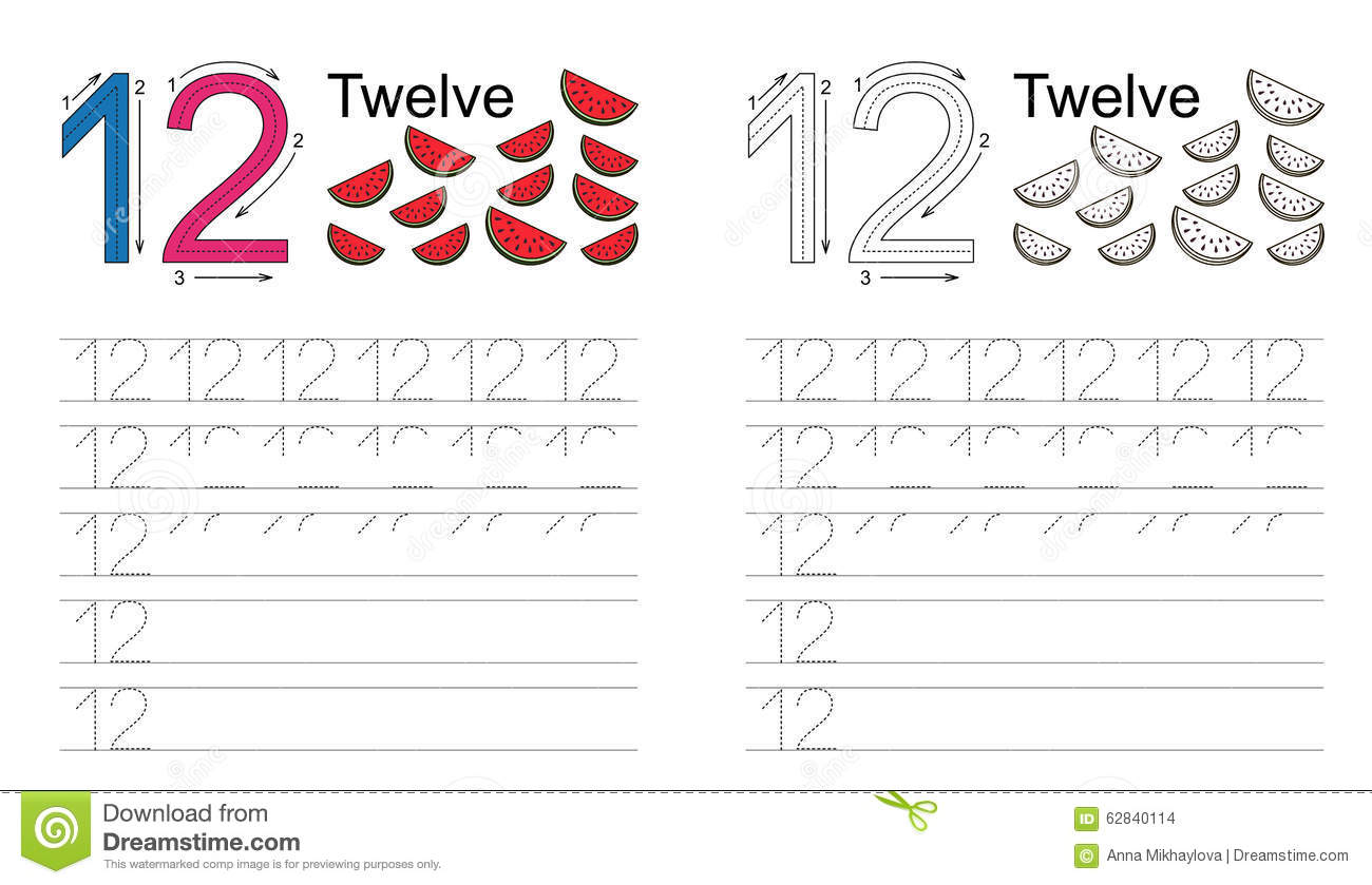 Tracing Worksheet For Figure Twelve Stock Vector