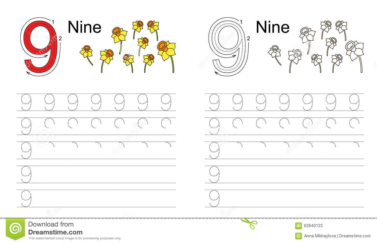 Tracing Worksheet For Figure 9 Stock Vector