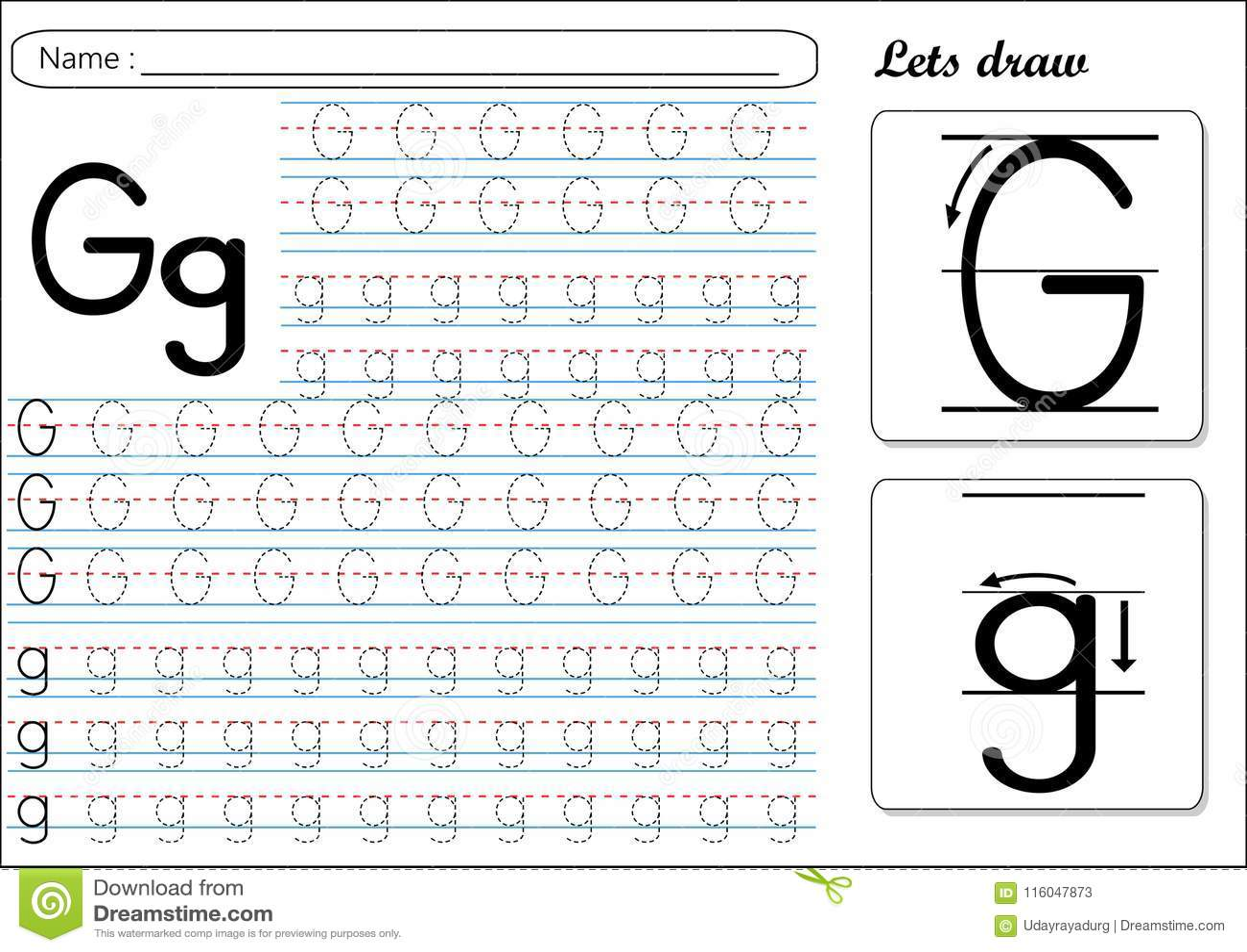 Tracing Worksheet Gg Stock Vector Illustration Of Help