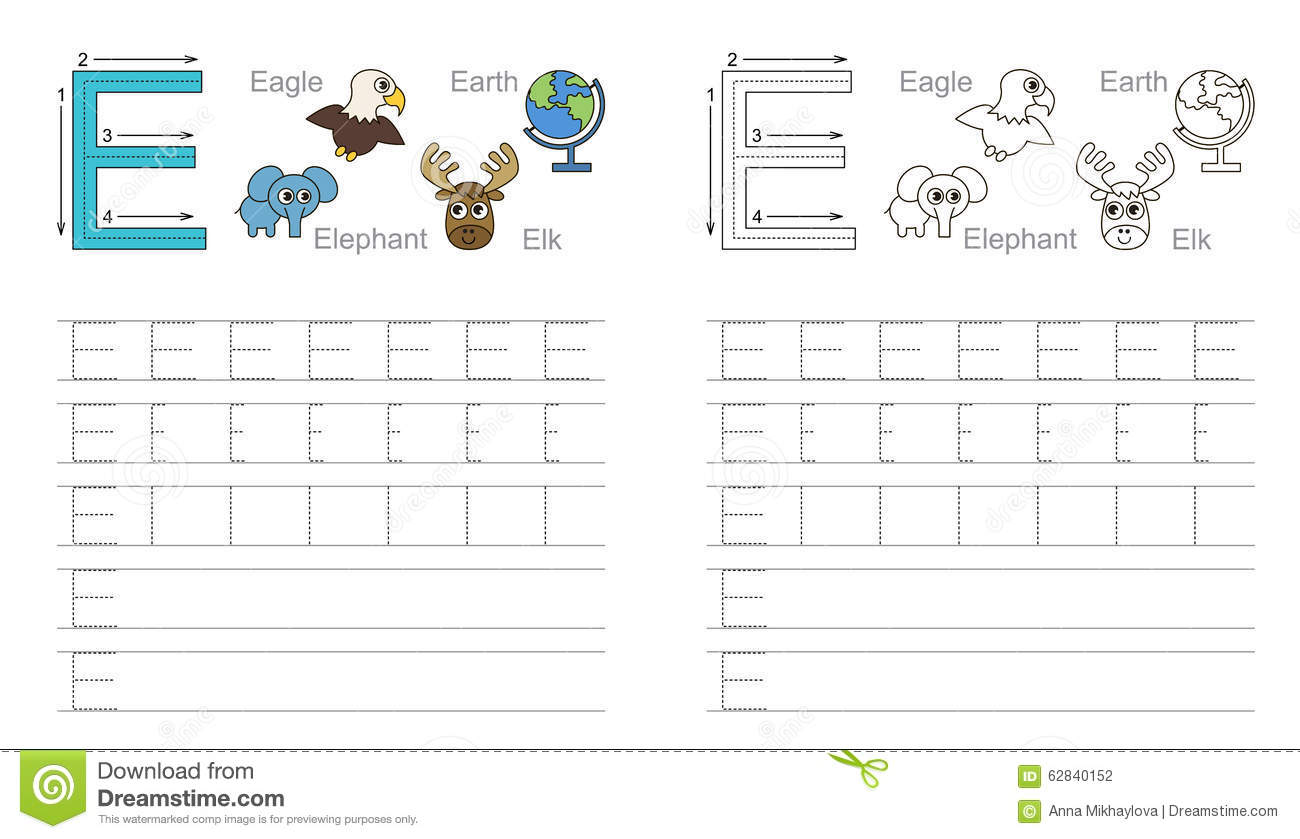 Free Worksheet Letter E