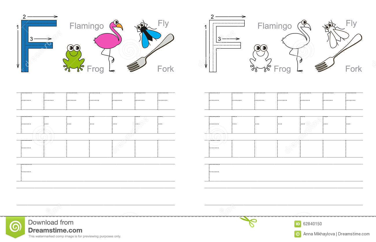 Tracing Worksheet For Letter F Stock Vector