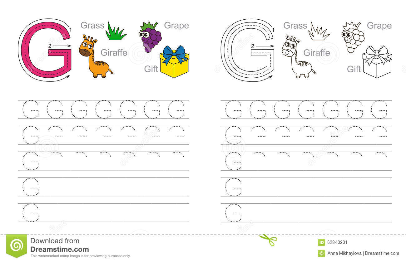 Tracing Worksheet For Letter G Stock Vector