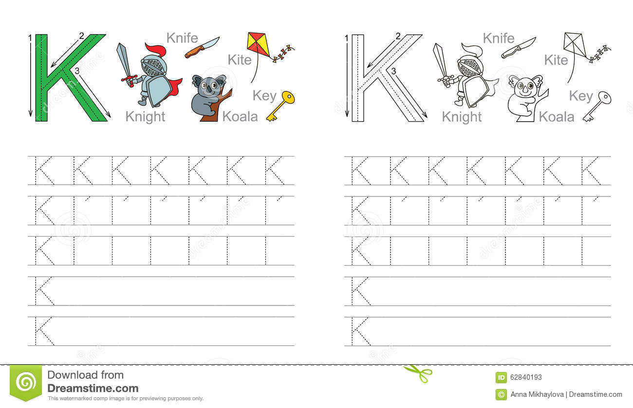 Tracing Worksheet For Letter K Stock Vector