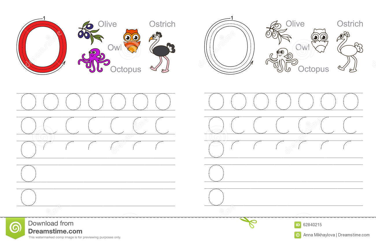 Tracing Worksheet For Letter O Stock Vector