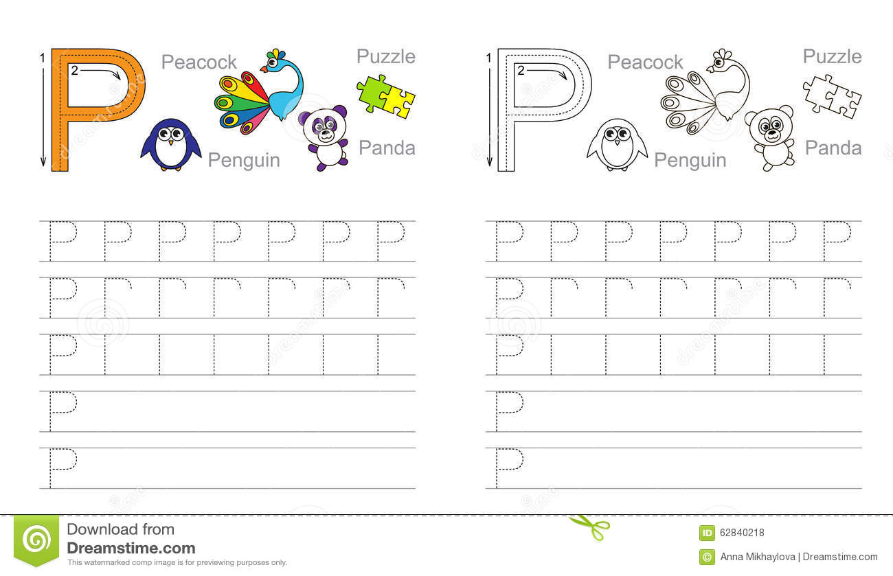 Tracing Worksheet For Letter P Stock Vector