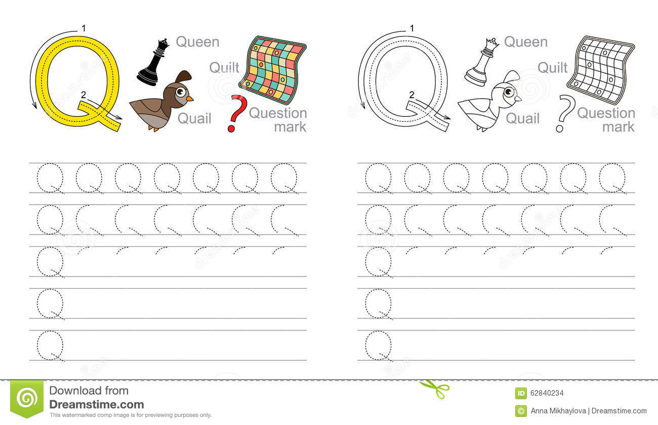 Tracing Worksheet For Letter Q Stock Vector