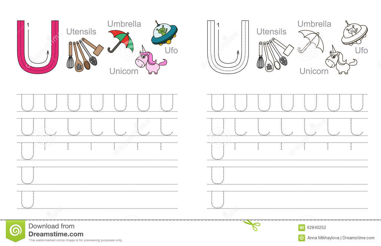 Tracing Worksheet For Letter U Stock Vector
