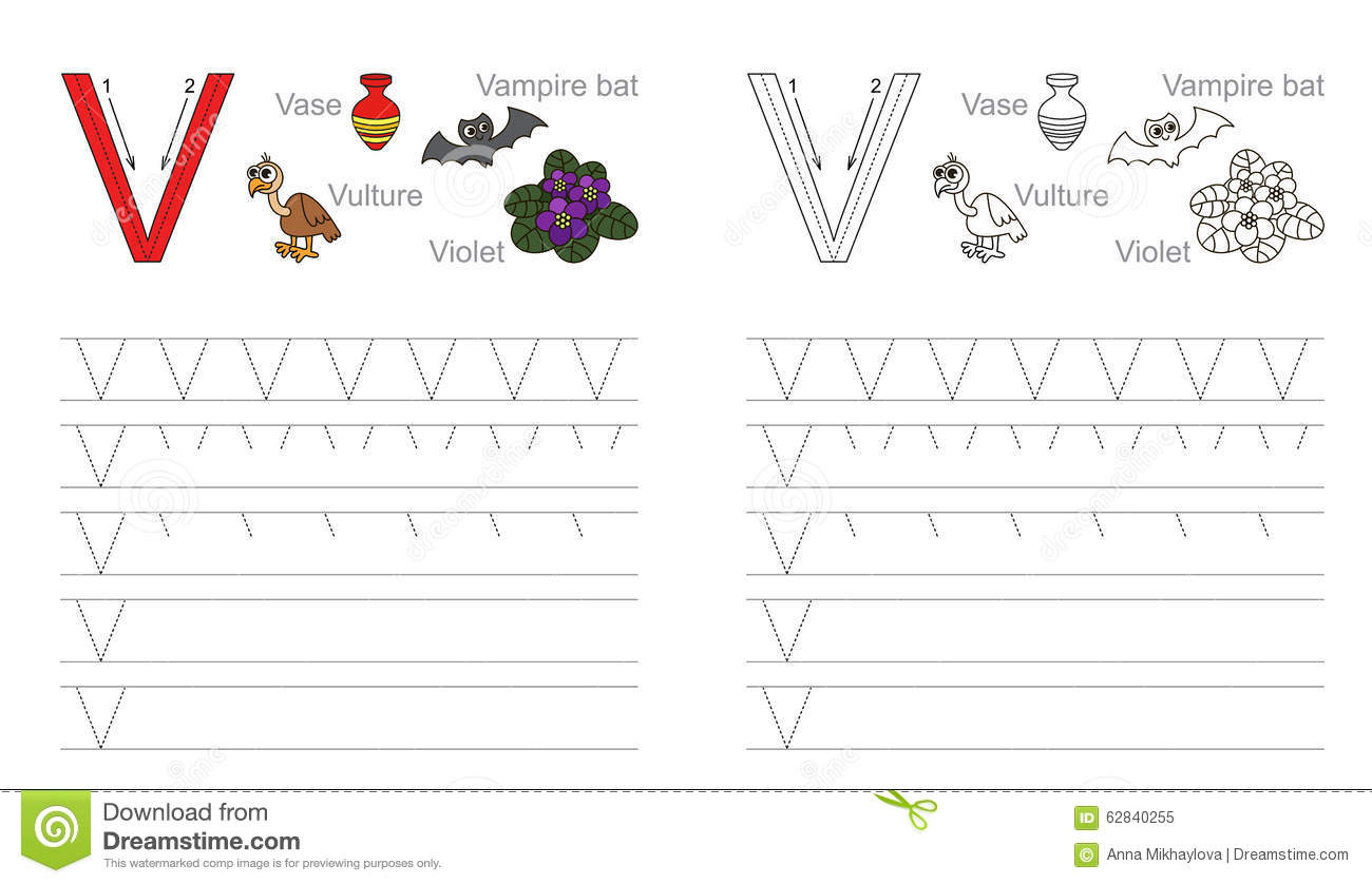 Tracing Worksheet For Letter V Stock Vector