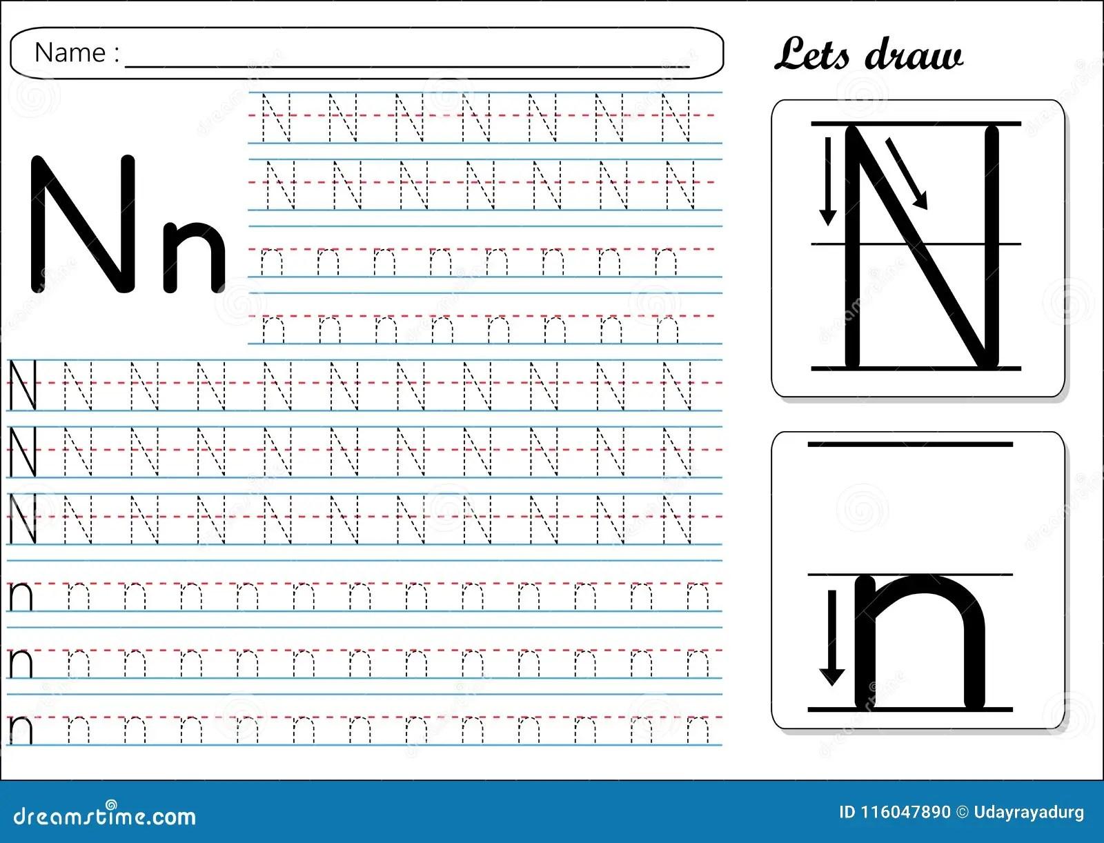 Tracing Worksheet Nn Stock Vector Illustration Of Small