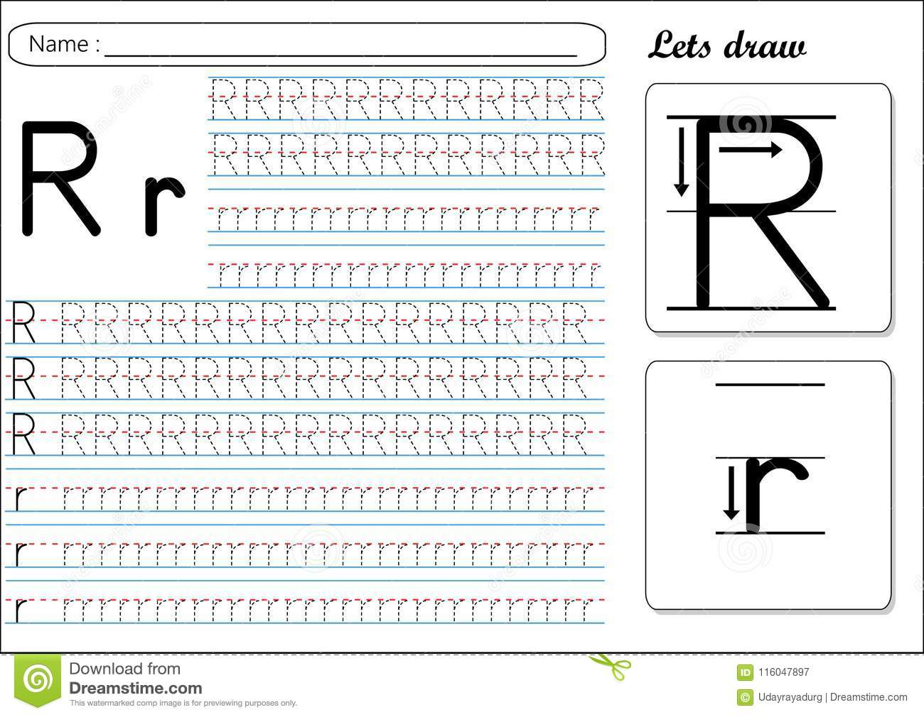 Letter R Worksheet Vector Illustration