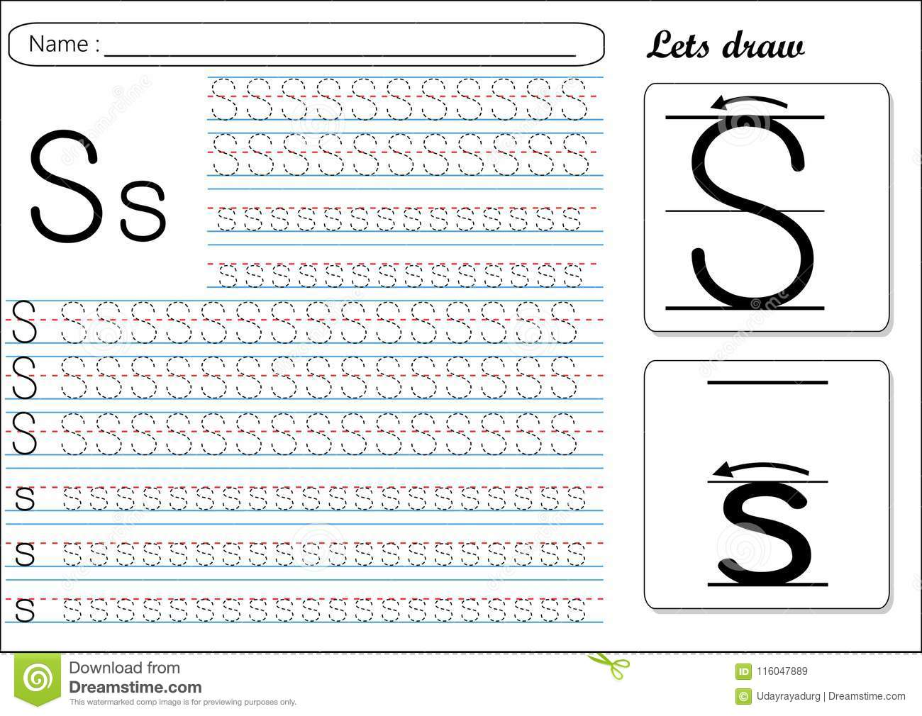 Tracing Worksheet Ss Stock Vector Illustration Of Learn