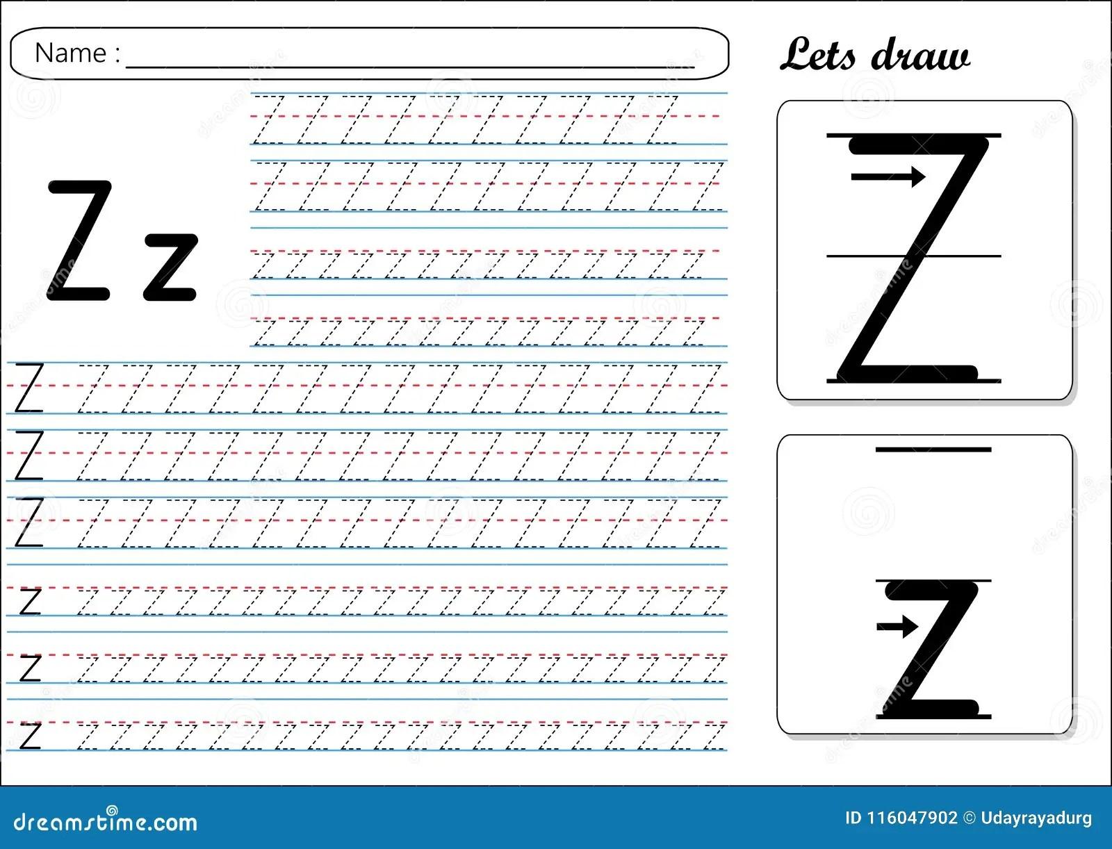 Tracing Worksheet Zz Stock Vector Illustration Of Fast