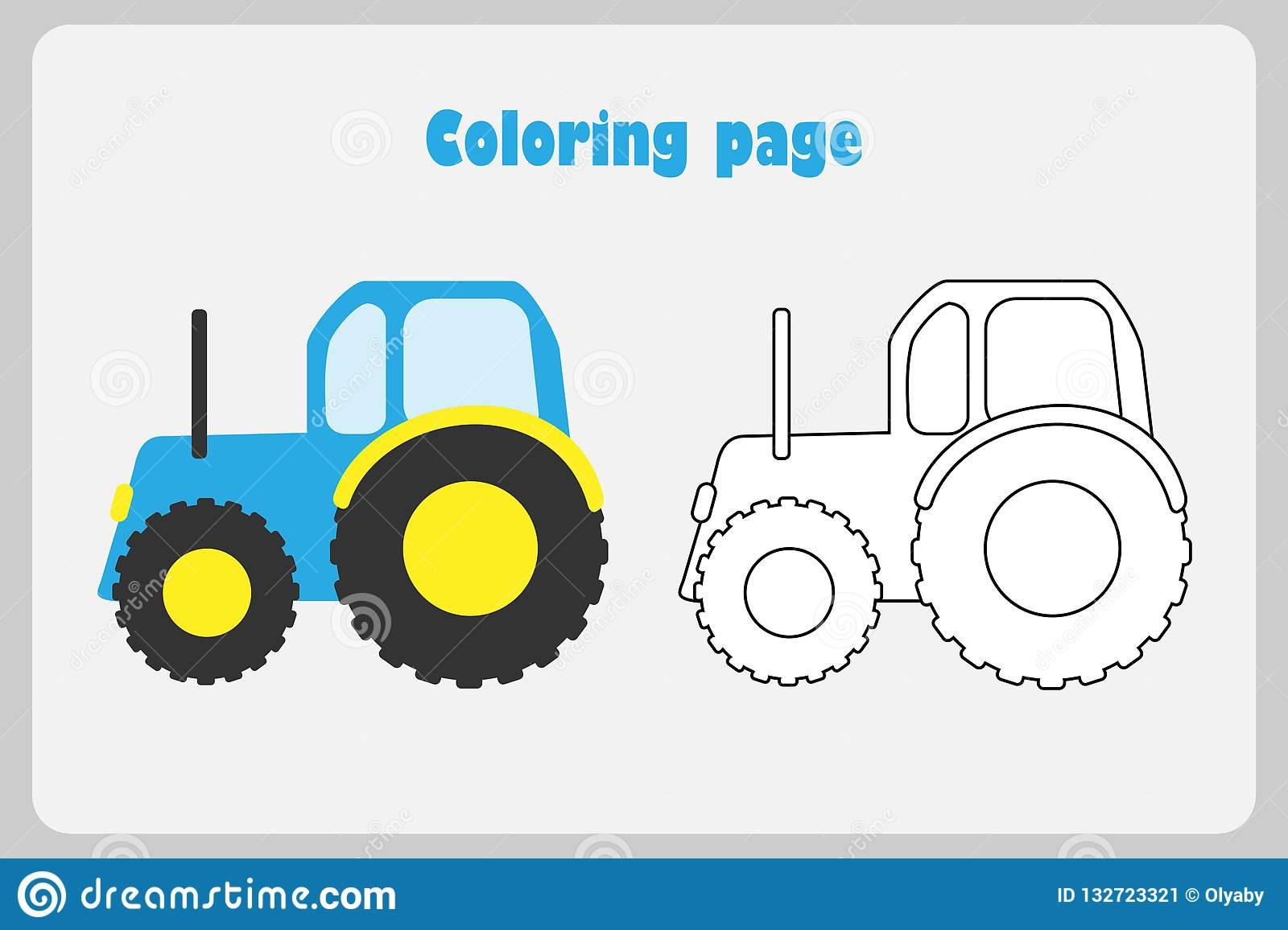 Tractor In Cartoon Style Coloring Page Education Paper