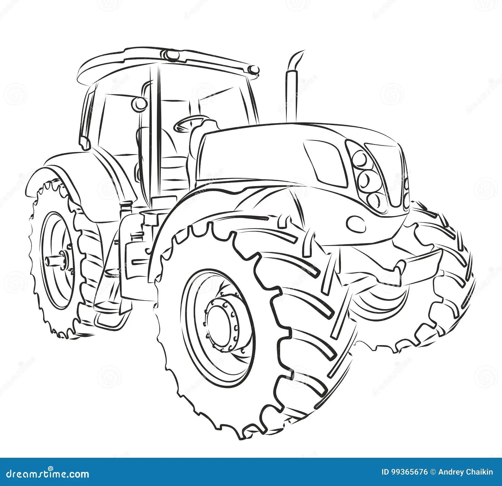 Tractor Sketch Stock Vector Illustration Of Sketch